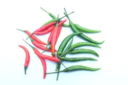 close up  and top view bunch  fresh  red and green hot chilli on a white background