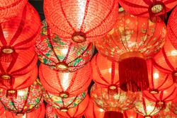 2018 2019 2020 close up Beautiful traditional Chinese Lantern lamp background in red color