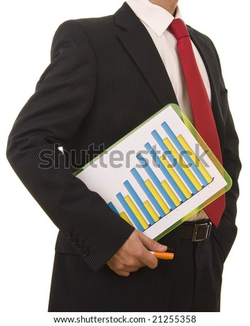 Close-up od a businessman holding a financial report