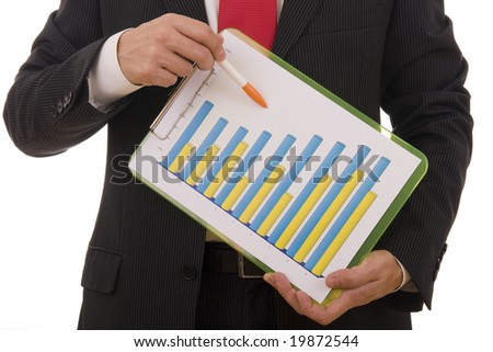 Close-up of a businessman showing a financial report