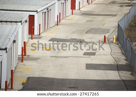 close up of  arrangement of  garages industrial background