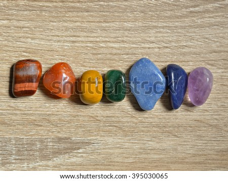 Close up of Chakra stones ,Chakra crystals - Shutterstock ID 395030065