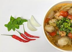Close up of delicious khmer food. Tong Yum soup bowl Khmer food.