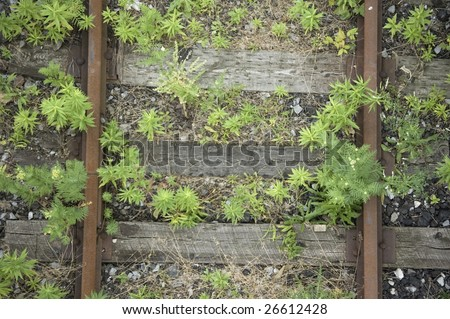 close up of  railroad track / abstract industrial background