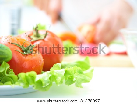 Close-up of salads with fresh vegetables #81678097