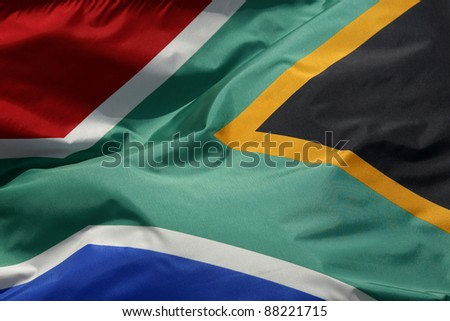 close up of south africa flag