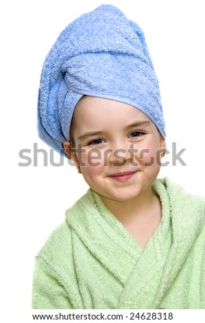 Close up of young attractive girl in bathrobe isolated on white background.