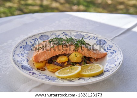 Close up picture baked salmon fillet with roasted potatoes, onion and slices of lemon and chopped fresh dill herbs served on rustic plate outdoor in garden restaurant during sunny spring day