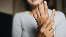 Close up young woman wrist pain , Health problems concept