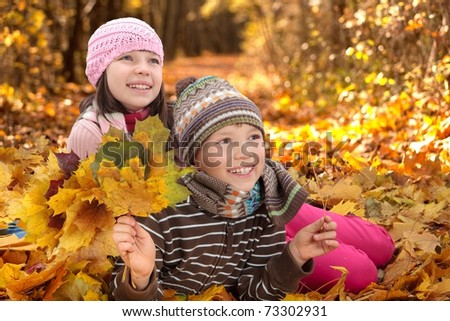 Closeup of smiling young sister and brother playing in colorful Autumn leaves with wood in background.