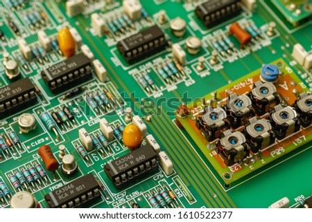 Closeup on electronic and electronic board, background image