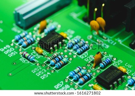 Closeup on Electronic device and electronic board, background