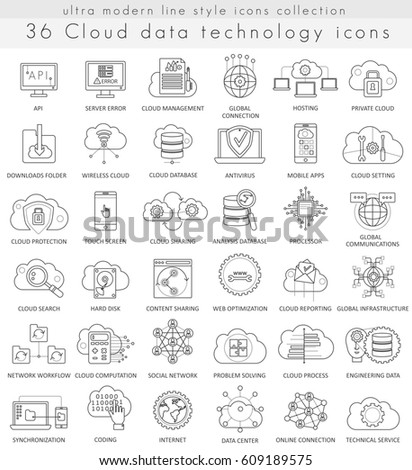 Cloud data technology ultra modern outline line icons for web and apps.
