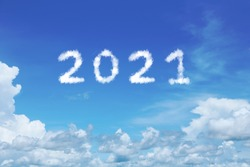 2021 Cloud Shape on Blue Sky For Happy New Year Cncept