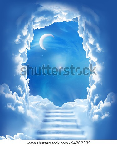 cloudy night sky with a stair towards the christmas moon