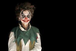 .Clown on black background