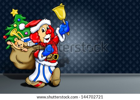 """clown's illustration disguised of Santa Claus on a dark bottom      """