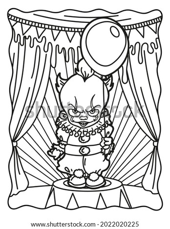 Clown with a balloon in the circus. Coloring book for children. Coloring book for adults. Halloween. Coloring book for Halloween. Cute horror movies.
