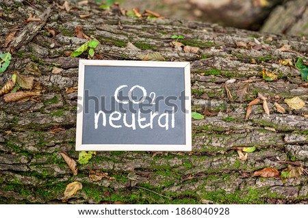 'CO2 neutral' written on a board on a tree trunk - carbon neutrality concept.