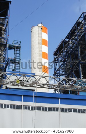 Coal fire Lignite power plant and switchgear under-construction #431627980