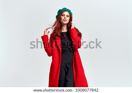 coat, beret, clothes, style, fashion, beauty, young woman