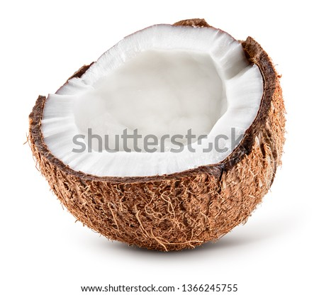 Coconut half isolated. Cocos white. Coconut isolate. Full depth of field.