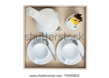 coffee set top view isolated white