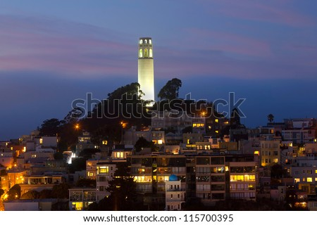 'Coit Tower' by night.  San Francisco in California, USA
