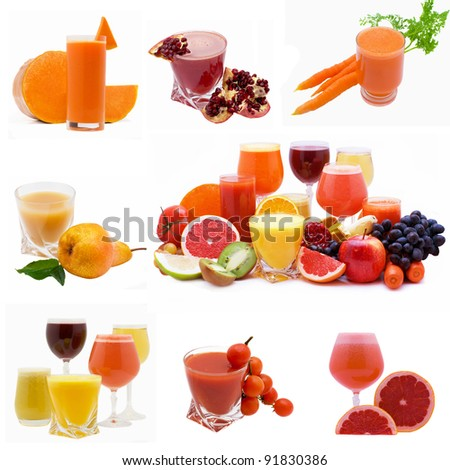 Collage from glasses of fresh juice different fruit