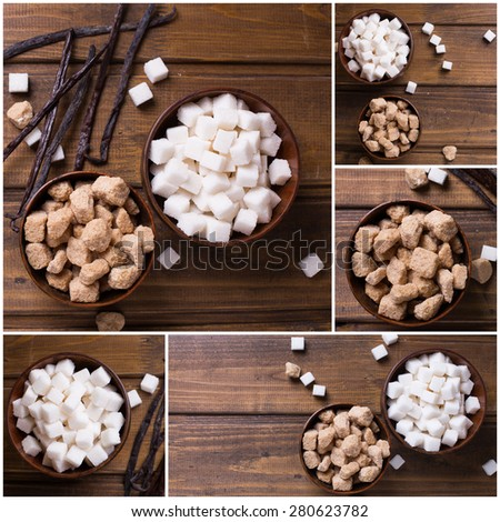 Collage from photos of white and brown  sugar cubes in bowls  and vanilla beans on dark wooden background. Selective focus.