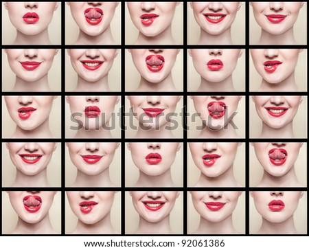 collage, lips