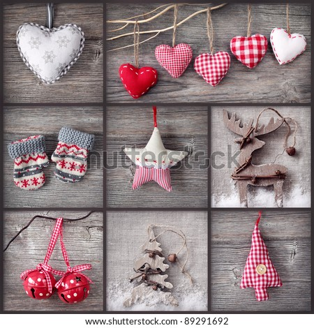 Collage of christmas photos over grey wood background