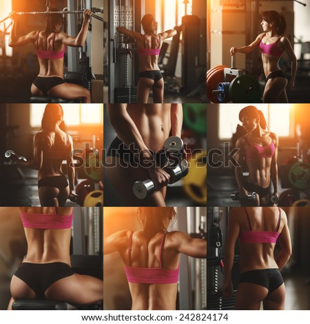 Collage of different photos of a young woman bodybuilder in the gym