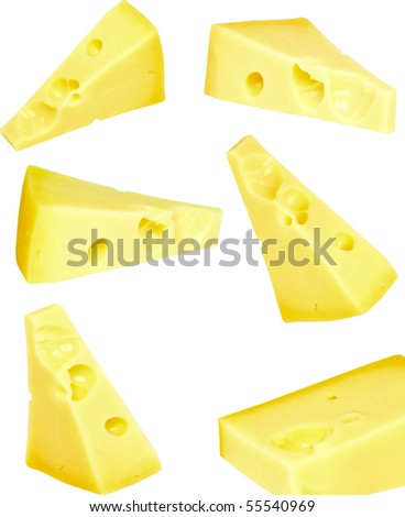 Collage (set)  piece of fresh cheese on white background. Isolated