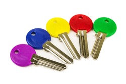 collection of colored keys on white background