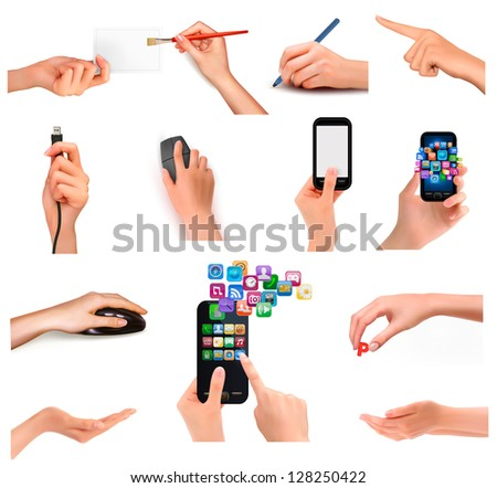 Collection of hands holding different business objects. Raster version of vector.