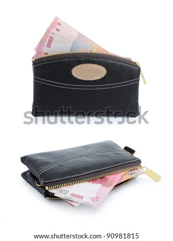 collection of money in the wallet, isolated on white background