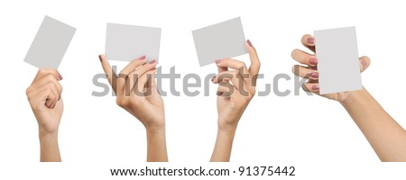 collection of the hands of a young woman carrying a blank card isolated on white background