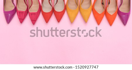 Collection of women's footwear with thin high heels, stiletto shoes on pink background, copy space    #1520927747