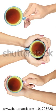 Collection of women's hands with a cup of hot tea isolated on white background