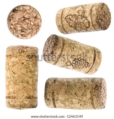 collection set of wine corks isolated over white background