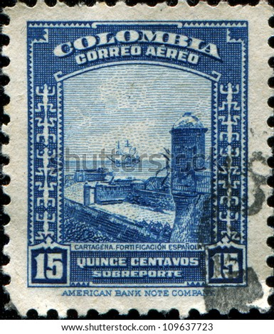 COLOMBIA - CIRCA 1941: A stamp printed in Colombia shows  Spanish Fort, Cartagena, circa 1941