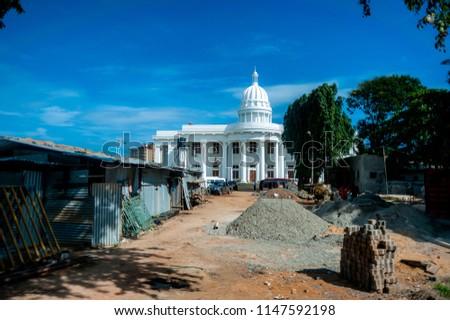 07 09 2013 Colombo, Sri Lanka: Construction work near parody of the Capitol building #1147592198
