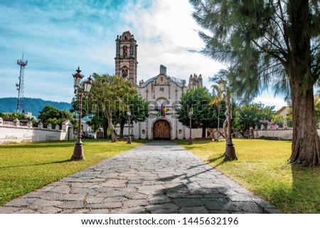 colonial churches located in magic town of Malinalco, Estado de México. Foto stock ©
