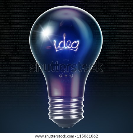 color illuminated Bulb with glowing idea inside 3d