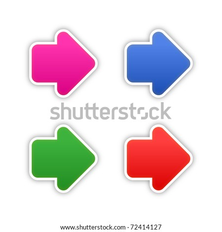 4 colored arrow symbol web 2.0 stickers with shadow on white. Bitmap copy my vector ID: 61326949 - stock photo
