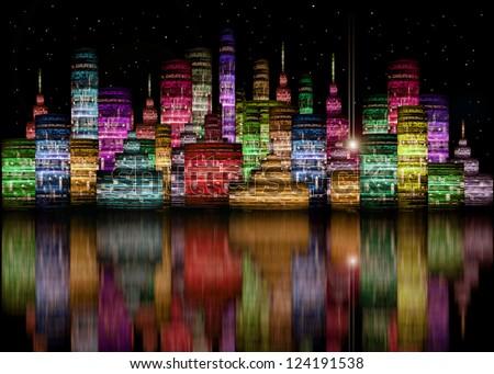 Futuristic City Skyline Night Colored Futuristic City Night