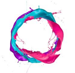 Colored paints splashes circle, isolated on white background