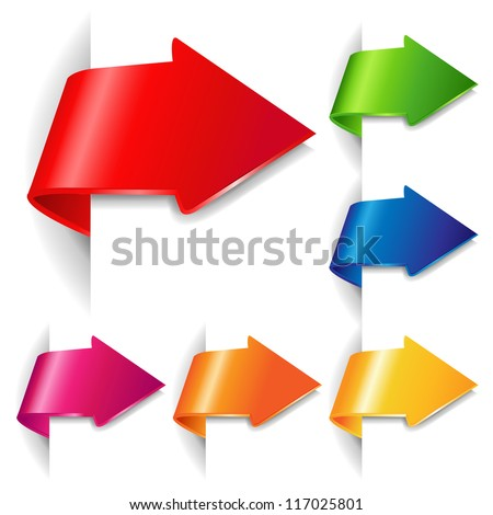6 Colorful Arrows, Isolated On White Background With Gradient Mesh