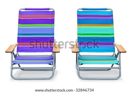 2 colorful beach chairs on white background
